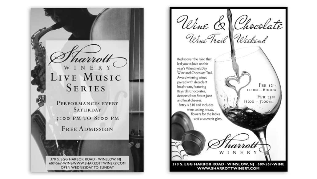 BW winery newspaper ad design