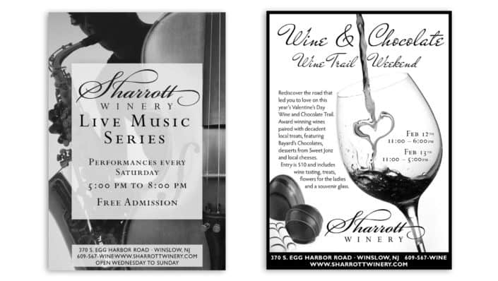 BW winery newspaper ad design