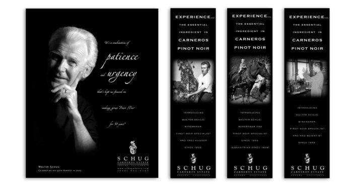 Schug winery magazine ad designer