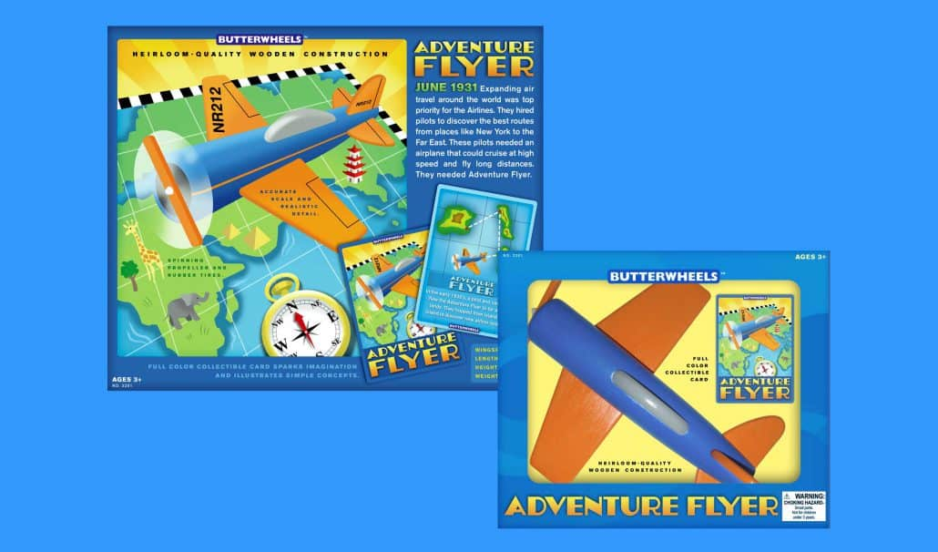 wooden toy airplane package design 1