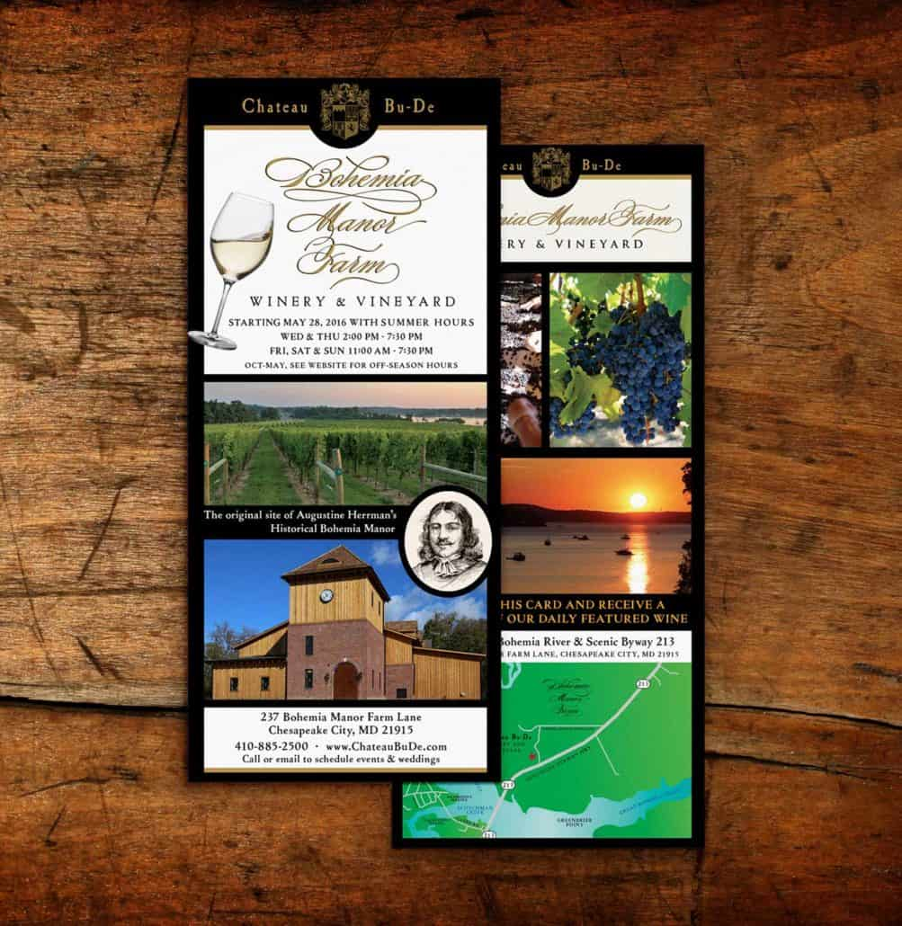 Bohemia Winery Rack card design