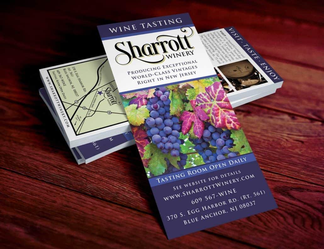 Sharrott winery Rack card design