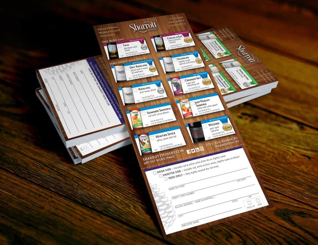 Sharrott winery tasting card wine club